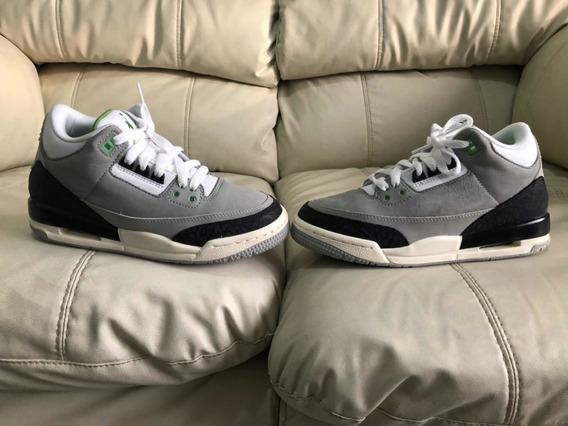Tenis Air Jordan Retro 3 Chlorophyll Del 23.5mx 5y Dama Niño