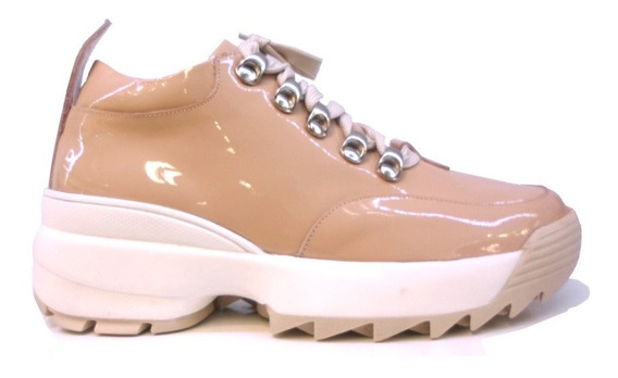 Zapatillas Mujer Urbanas Cuero Charol Sneakers Hot Rimini