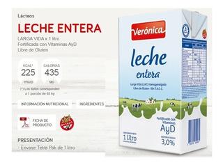 Leche Veronica Entera Larga Vida 12u X 1lt Mataderos