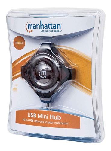Imagen 1 de 3 de Concentrador Mini Hub Manhattan Usb 4 Ptos Negro 162272