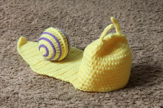 Fantasia Caracol Em Crochê Para Bebê Newborn