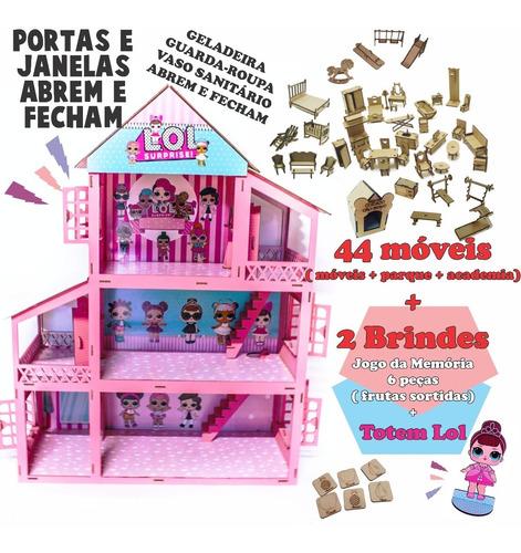 Casinha P/ Boneca Polly / Lol Cor Rosa +34 Mini Moveis Mdf