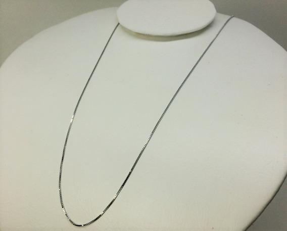 Corrente Elo Veneziano Ouro Branco 18k 45cm Frete Gratis