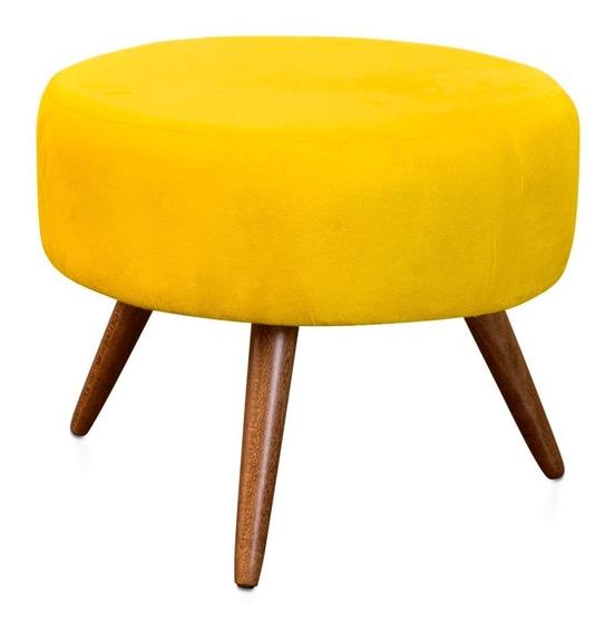 Puff Puf Redondo Lavínia Suede Amarelo Promoção
