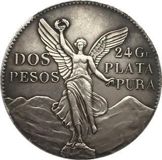 2 Pesos Baño De Plata 1921 Libertad Moneda De Colección