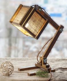 Luminaria De Mesa Em Madeira Rústica