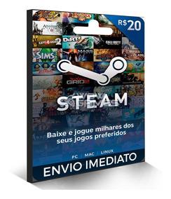 Steam Cartão Pré-pago R$ 20 Reais De Crédito - Gift Card