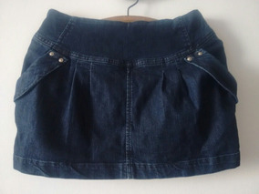 Minifalda Jeans Elasticada Azul Oscuro Talla M Americanino