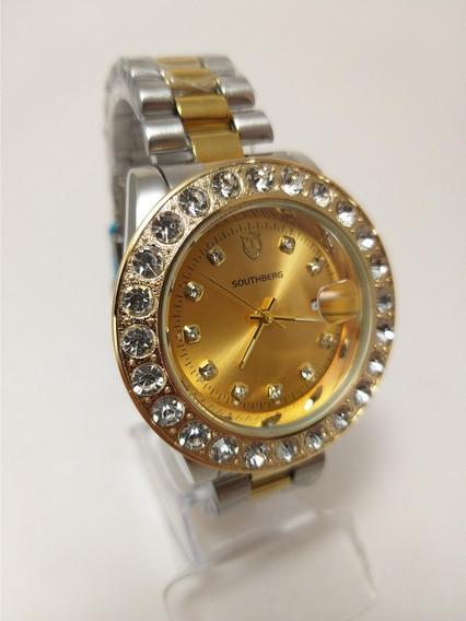Relógio Masculino Com Pedras Dourado Original Barato C.131