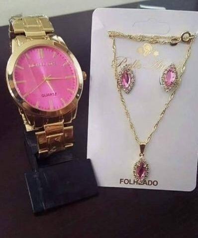 Kit 10 Pçs Relógio Feminino + Colar + Brinco + Caixa Reven