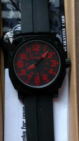 Reloj Estilo Militar Infantry Black / Red Analogo