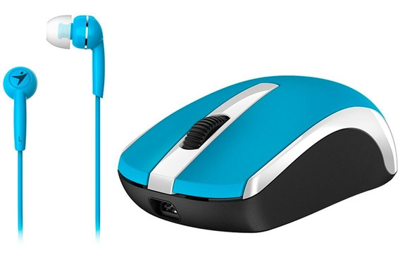 Mouse Inalambrico Genius Mh-8100 Recargable Azul + Audifonos