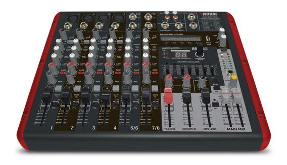 Mesa De Som Amplificada 8 Canais 600w Nvk800p Novik Bluetoot