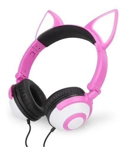 Headfone Gatinho C/ Pisca Led - Hf-c30 - Rosa