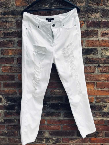 Jean Blanco Roto Forever21 Talle 30 40