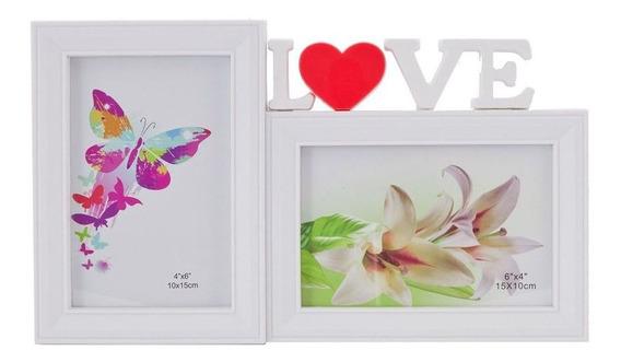 Porta Retrato Love Duplo 10x15 Branco Love Pf-1032br