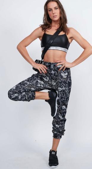 Calça Moletom Colcci Fitness Jogger Floral Preta - Original