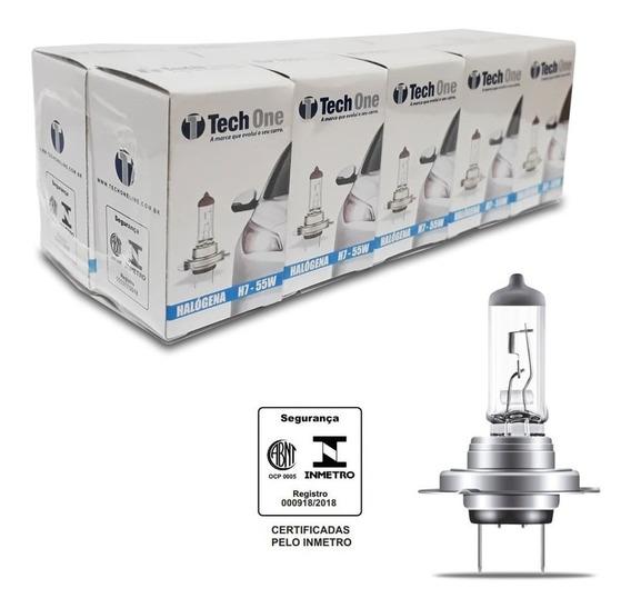 Kit 10 Lampada Halogena H7 3000k 12v 55w Techone