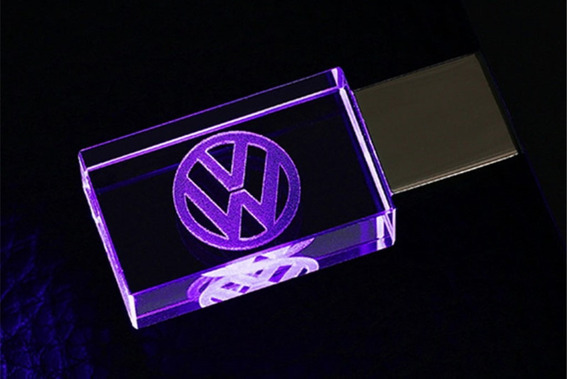 Pen Drive 16gb Cristal Led Volkswagen Roxo + Caixa Portátil
