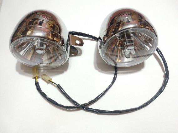 Farol De Milha Para Motos Custom Cromado ( Par ) Com Lampada