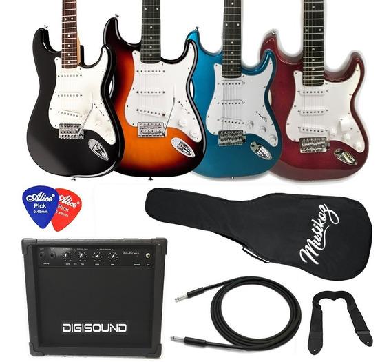 Guitarra Eléctrica Combo Strato Amplificador 15w Y Regalos!
