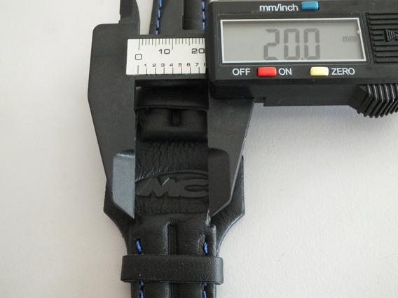 Pulseira Preta Relógio Masculina Costurada Couro 20mms