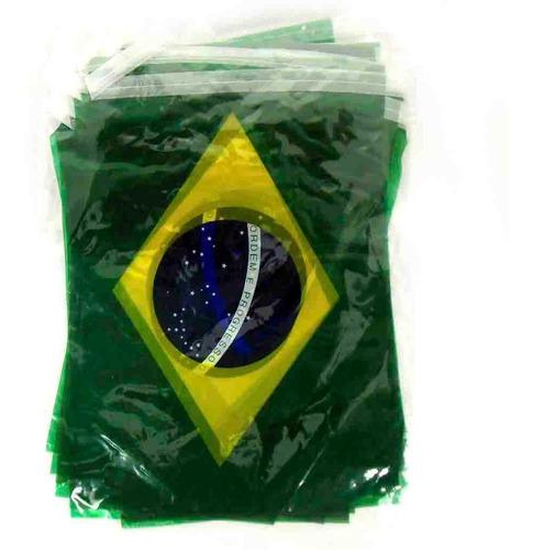 Imagem 1 de 1 de Bandeirola Bandeirinhas Do Brasil Plástico 20x30 - 10 Metros