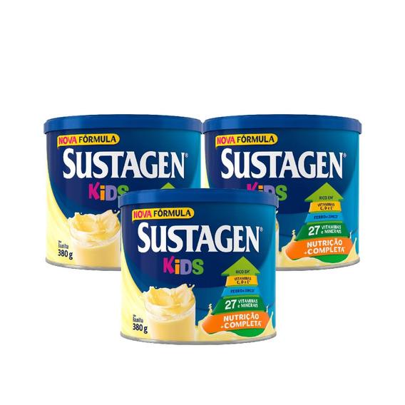 Sustagen Kids Nutrição Infantil 380g Baunilha 3 Unid
