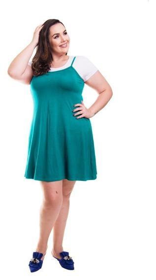 Roupa Feminina Vestido Plus Size Curto De Alça Com Camiseta