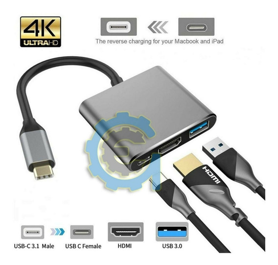 Hub Type C Usb 3.1 To Usb-c 4k Hdmi Usb 3.0 Cable 3 In 1