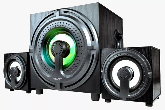 Caixa Som Home Theater Pc Subwoofer 2.1 Bluetooth Mp3 Usb