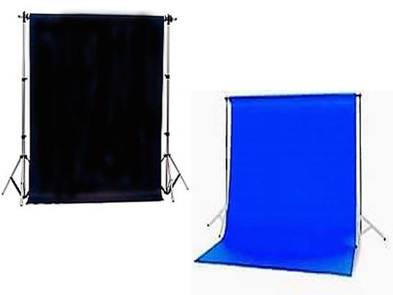 2 Tecido 3x6 Preto/azul + Suporte Fundo Infinito Estudio Estúdio Fotográfico Chroma Igreja Ring Ligth Iluminador Youtube