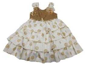 Vestido De Bebe Lentejoila Dourado Acetinado Premem