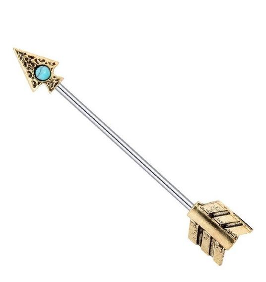 Brinco Piercing Orelha Transversal Barra Flecha Turquesa