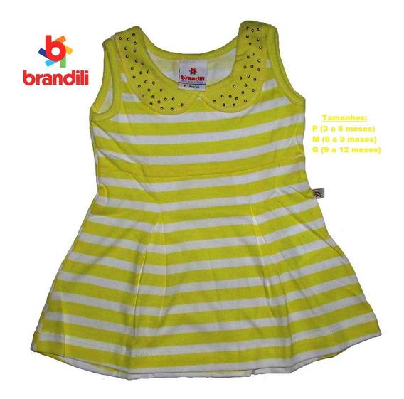 Vestido Brandili Bebê Listras Horizontais Até 1 Ano