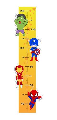 Imagem 1 de 3 de Adesivo Infantil Régua Crescimento Meninos Super Herois Cut