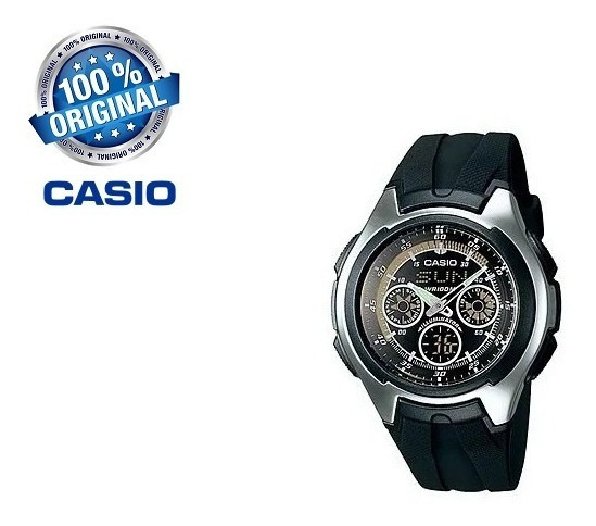 Relógio Casio Aq 163w 1b1v Caixa E Manual
