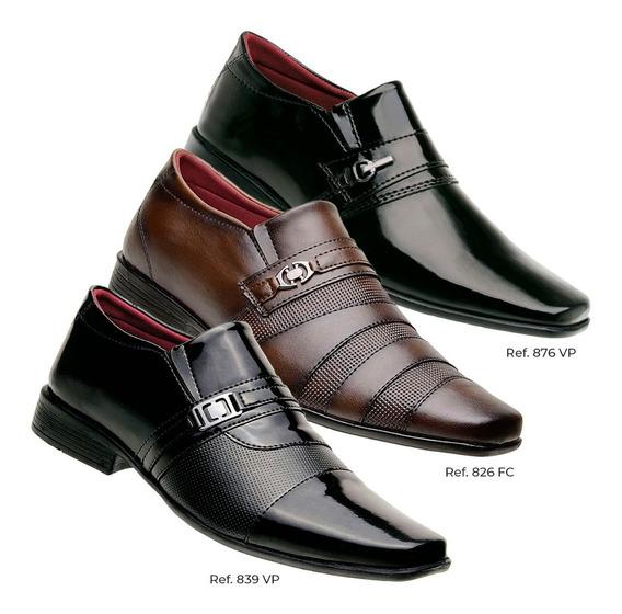 Sapato Com Bico Fino Couro Masculino Pague Dois E Leve Três