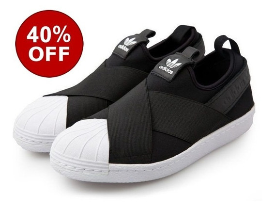 Tênis adidas Slip On Superstar Original Elástico Black