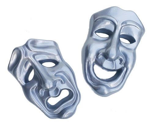 Imagem 1 de 4 de Mascara Teatro Prateada Decoração Parede - 2 Peças