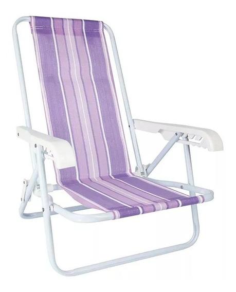 Cadeira De Praia Infantil Reclinável Mor Aço Lilas