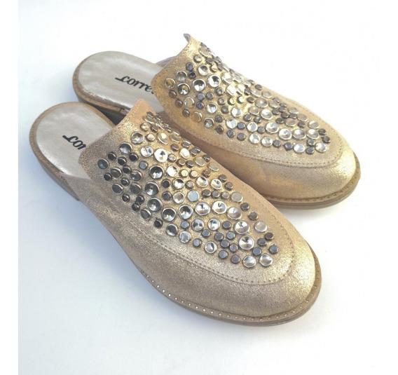 2751 Zueco Platino, Zapatos De Cuero