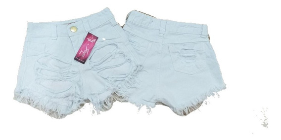 Shorts Jeans Feminino Destroyed Cintura Alta Estilo Anitta