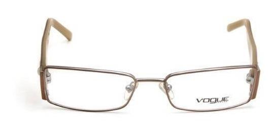 Oculos De Grau Feminino Vogue Metal Quadrado Cobre