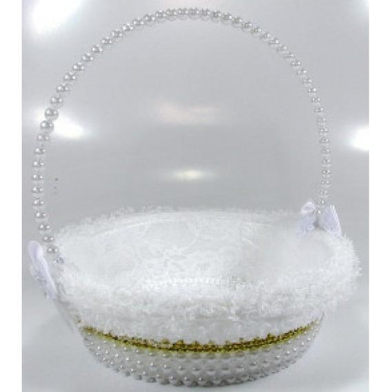 Kit 2 Cestas Floristas De Pérolas Casamento Branco E Dourado