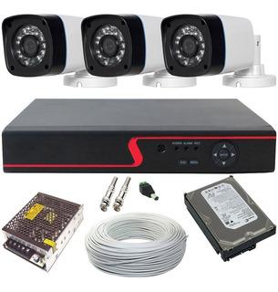 Kit 3 Câmeras Segurança Com Gravador Dvr Hdmi Acesso Nuvem