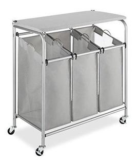 Whitmor Mesa Plegable Con Tres Compartimentos Para Clasifica