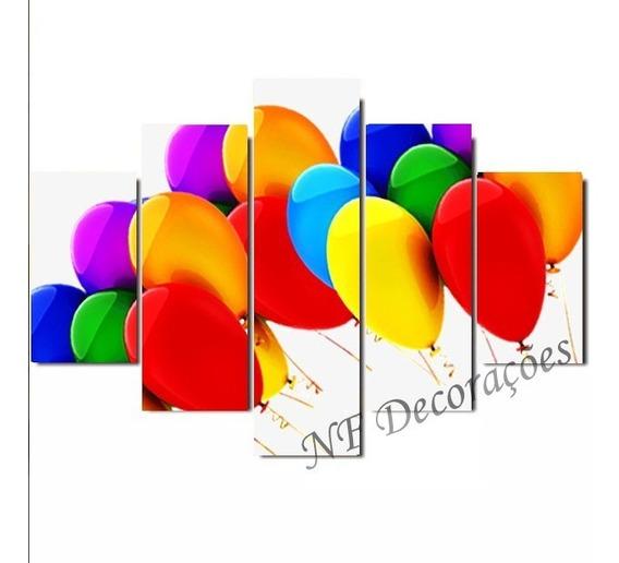 Quadro Decorativo 129x63 Balões De Festa Mdf Mosaico