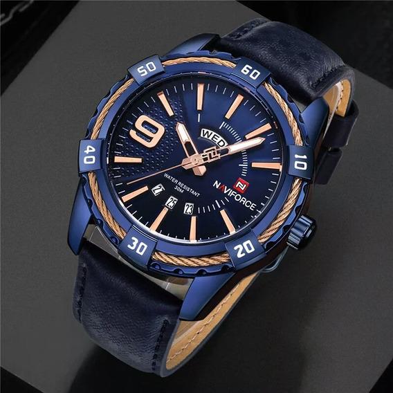 Relógio Naviforce 9117 Couro Azul Original Com Caixa Pronta Entrega