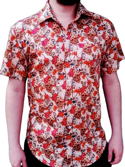 Camisa Caveira Social Masculina Vermelha Floral Florida Nova